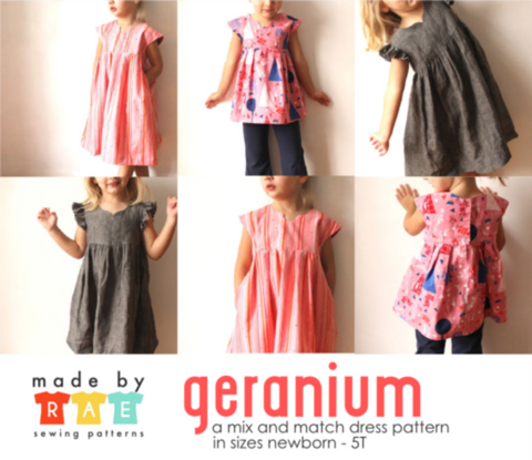 Made by Rae Geranium Children's Dress Pattern (paper)