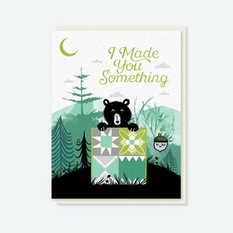 "Crafted Moon ""I Made You Something"" Bear Quilt Card"