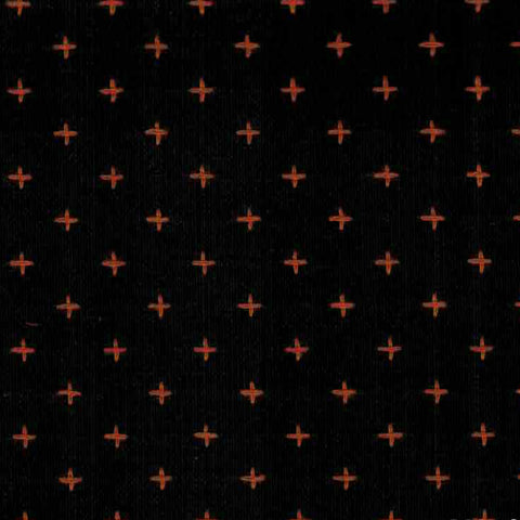 Manchester Embroidered Plus in Black / Orange - Last Fat Quarter