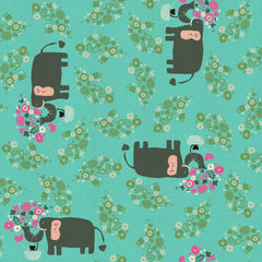 I Heart Elephants in Turquoise