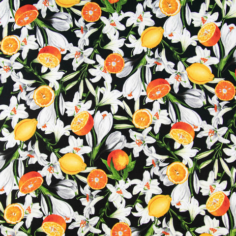 Lilies with Citrus in Black - Last Fat Quarter