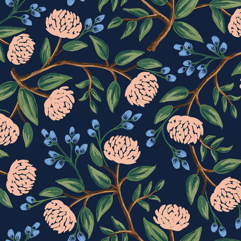Peonies in Navy