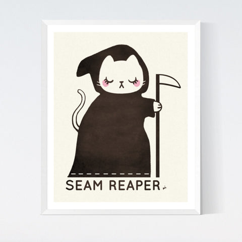Crafted Moon - Seam Reaper Cat Art Print