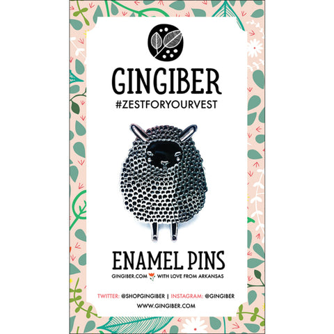 Gingiber Farm Charm Enamel Pin in Black Sheep