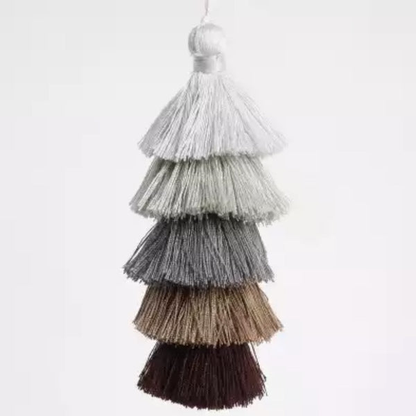 "Ombre Brown / Gray Tassel 6"" Long"