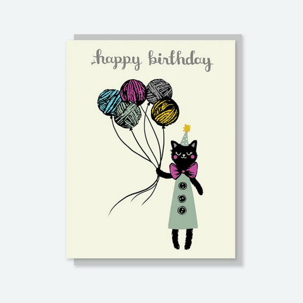 "Crafted Moon ""Happy Birthday"" Yarn Balloon Cat Card"