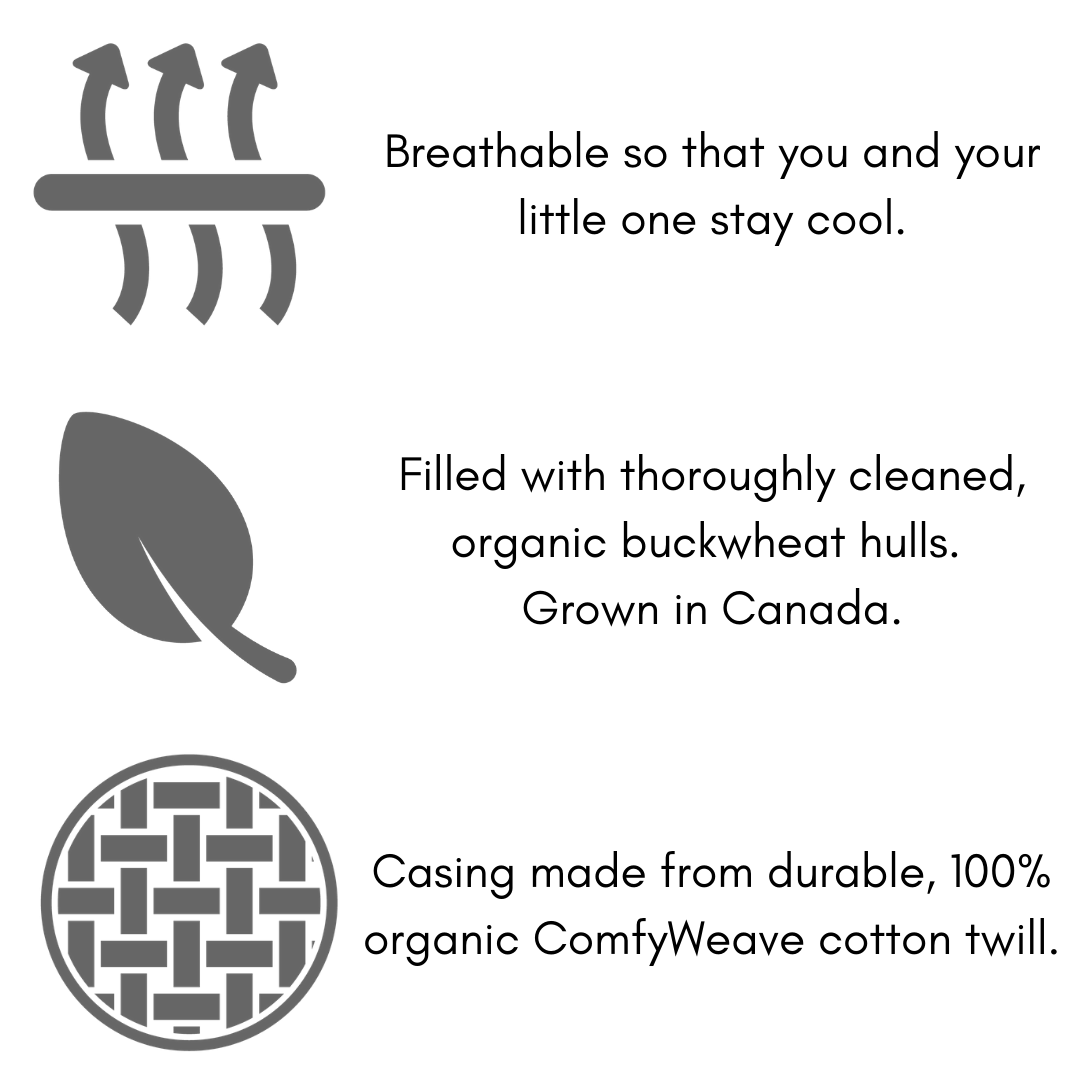 ComfyComfy buckwheat nursing pillow features