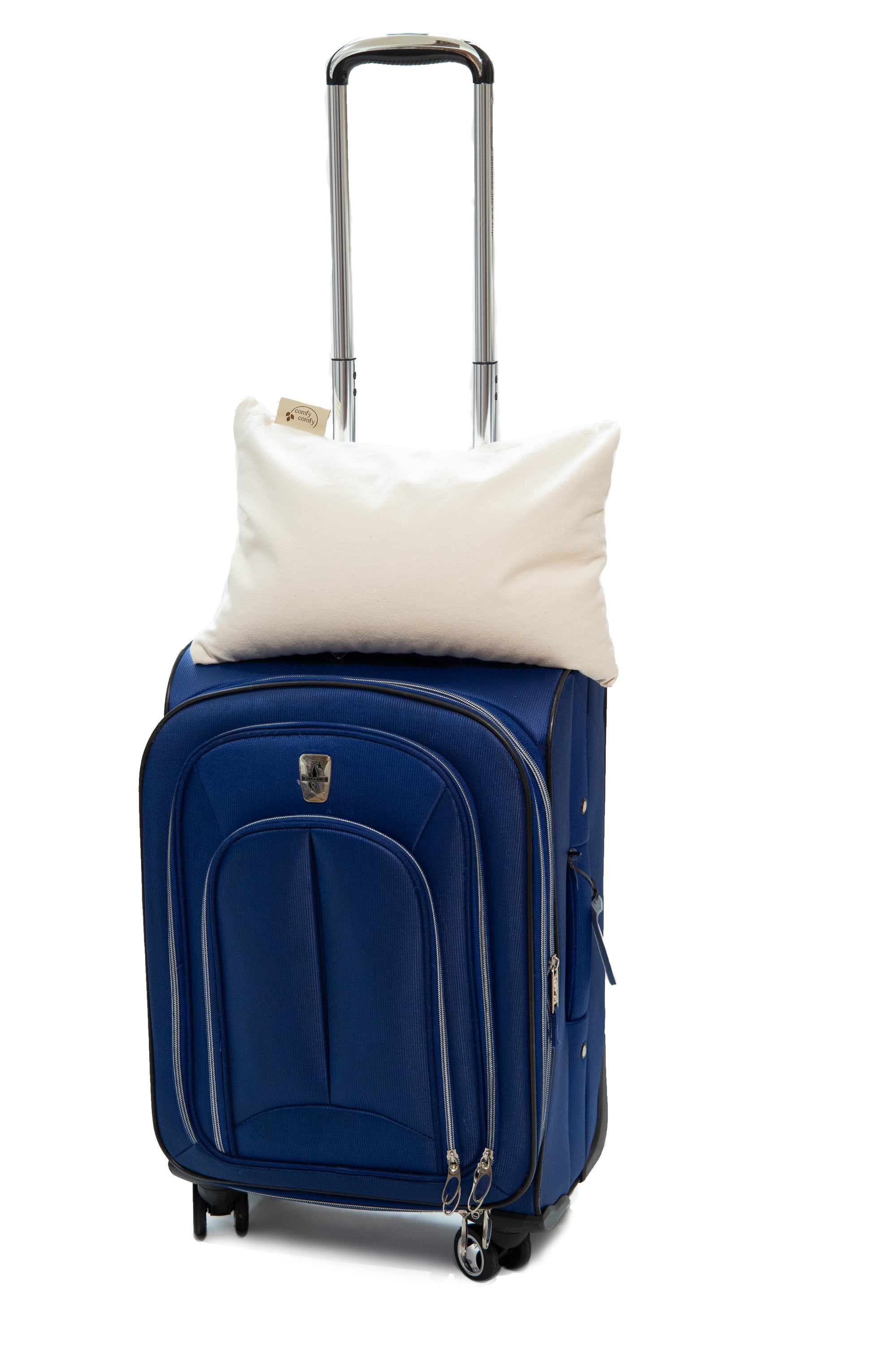 Travel pillow on carry on suitcase