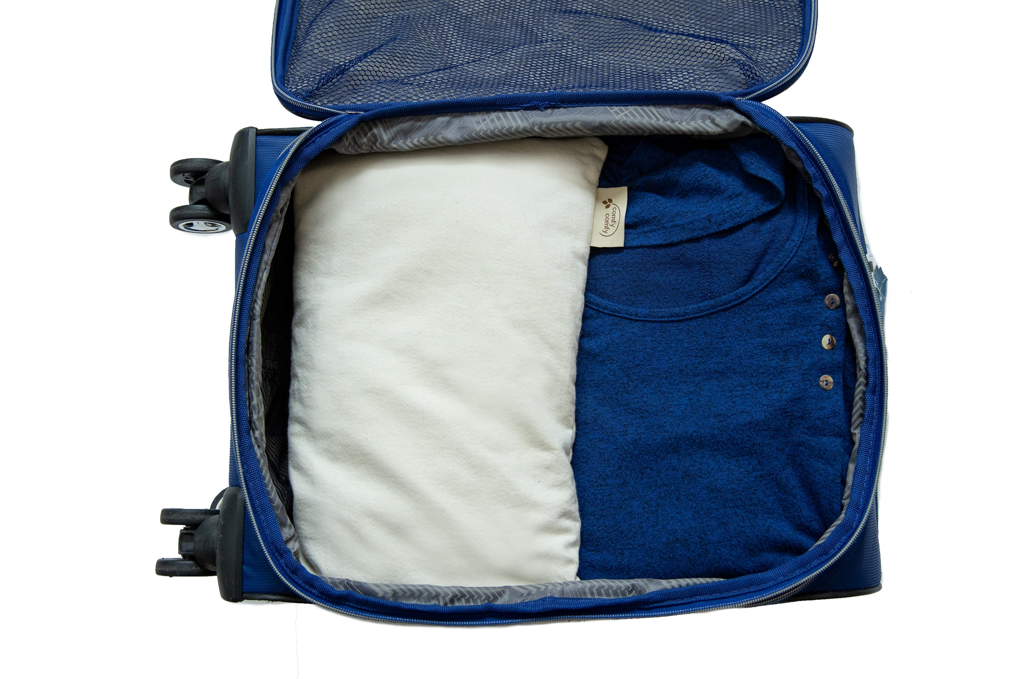 Travel pillow in carry on suitcase