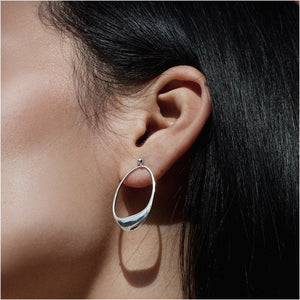 BAR Jewellery Sustainable Dip Earrings In Silver, On The Ear