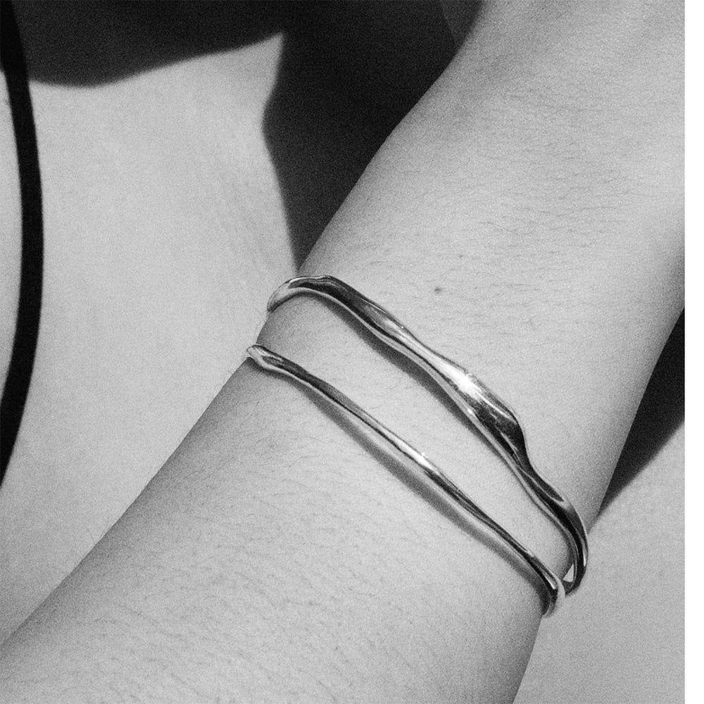 BAR Jewellery Sustainable Fine Ripple And Wide Ripple Bracelets In Silver, Worn On Wrist