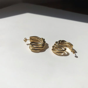 BAR Jewellery Sustainable Large Braid Earrings In Gold Hoop Style
