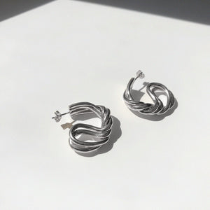 BAR Jewellery Sustainable Large Braid Earrings In Silver Hoop Style