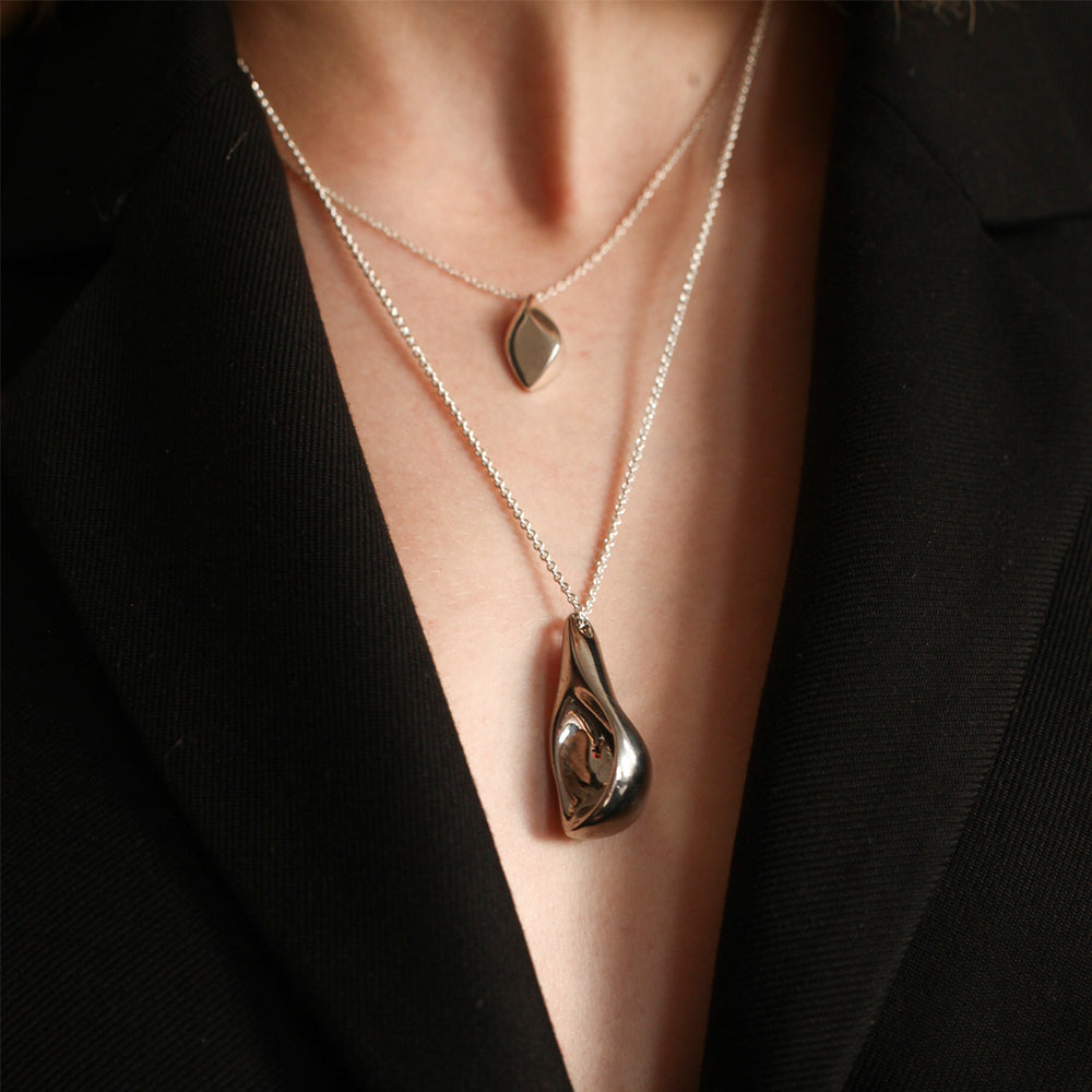 BAR Jewellery Sustainable Small Calla And Large Calla Necklaces In Silver