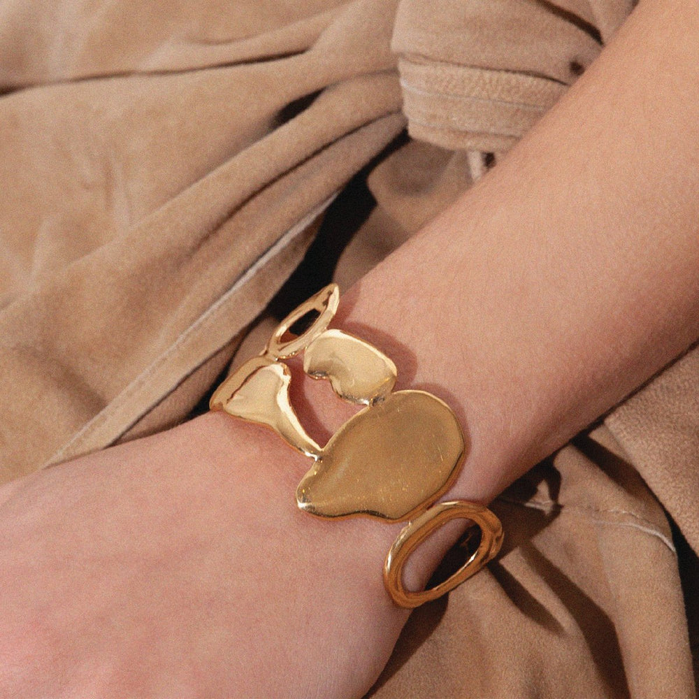 BAR Jewellery Sustainable Link Bracelet In Gold, Worn On Wrist