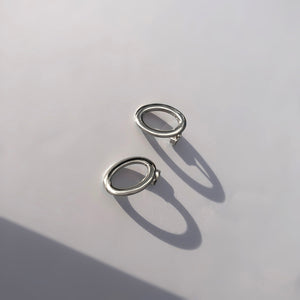 BAR Jewellery Sustainable Oval Stud Earrings In Silver