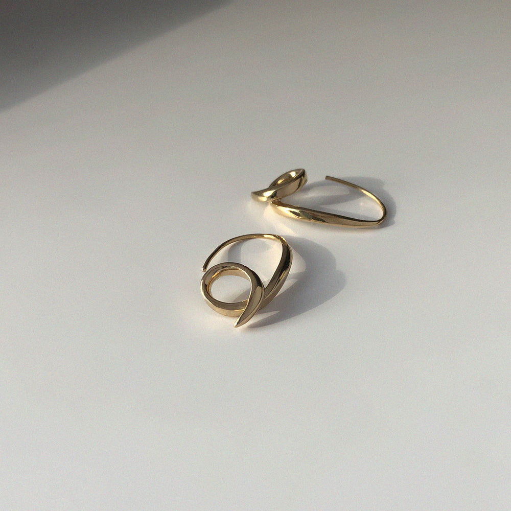 BAR Jewellery Sustainable Phi Earrings In Gold Drop Style