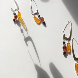 BAR Jewellery Sustainable Rise Earrings In Silver And Gold With Coloured Resin