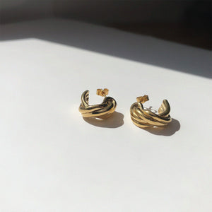 BAR Jewellery Sustainable Small Braid Earrings In Gold Hoop Style