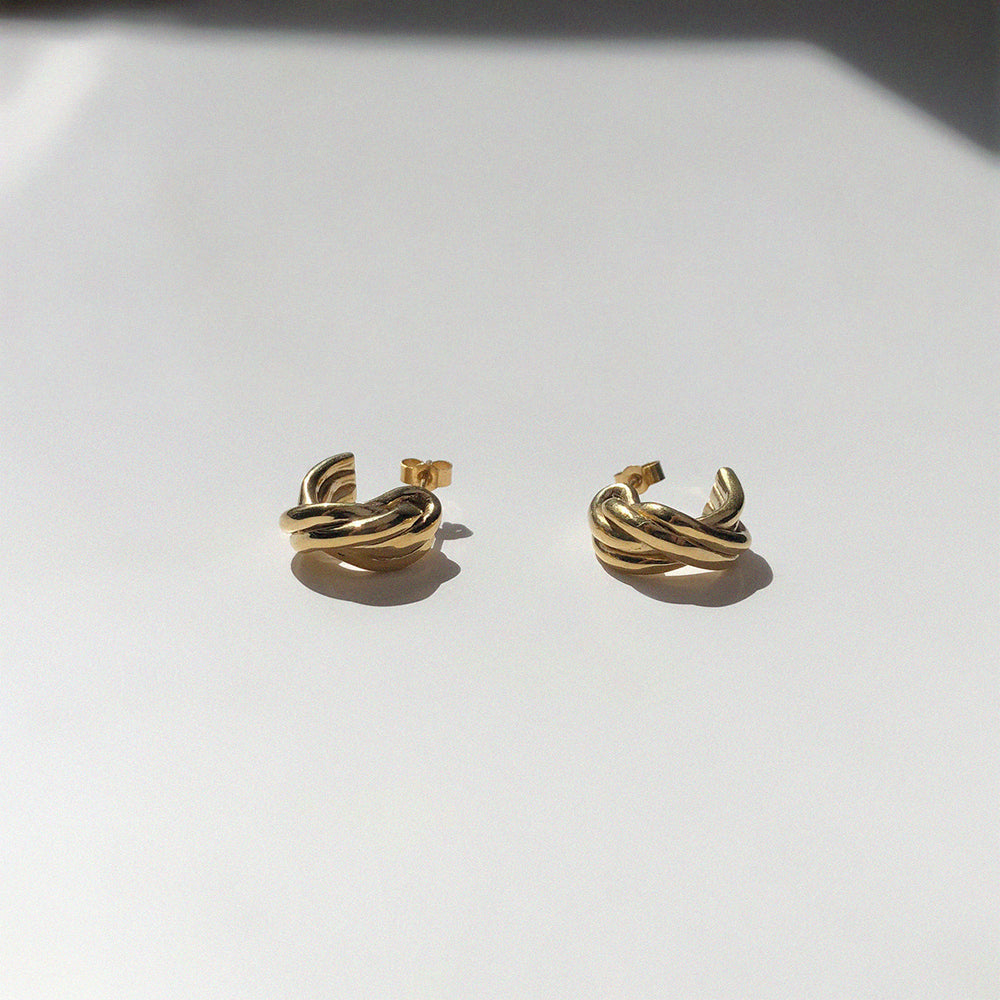 Load image into Gallery viewer, BAR Jewellery Sustainable Small Braid Earrings In Gold Hoop Style