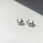 BAR Jewellery Sustainable Small Braid Earrings In Silver Hoop Style