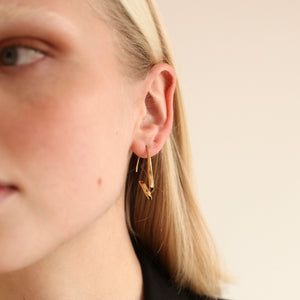 BAR Jewellery Sustainable Phi Earrings In Gold Drop Style, Placed On Ear