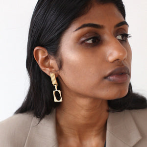 BAR Jewellery Sustainable Duet Earrings In Gold Drop Style
