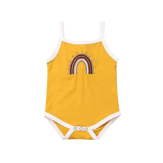 0-24M Vintage Rainbow Bodysuit  Sunflower Yellow - Tots Little Closet