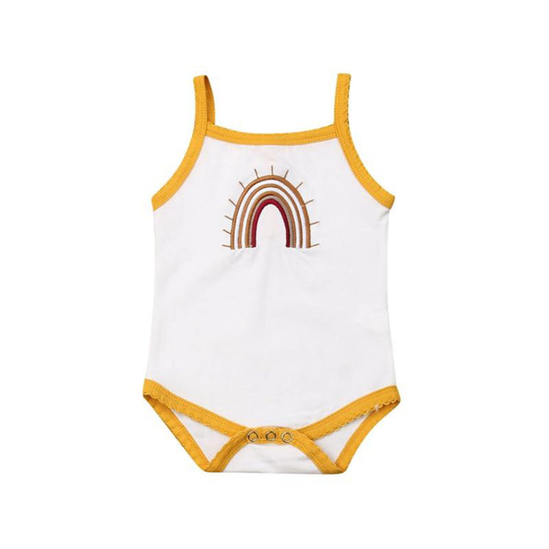 0-24M Vintage Rainbow Bodysuit  White W/ Yellow Trim - Tots Little Closet