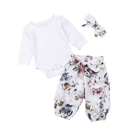 Flutter Hippie Clothing Set White Floral freeshipping - Tots Little Closet