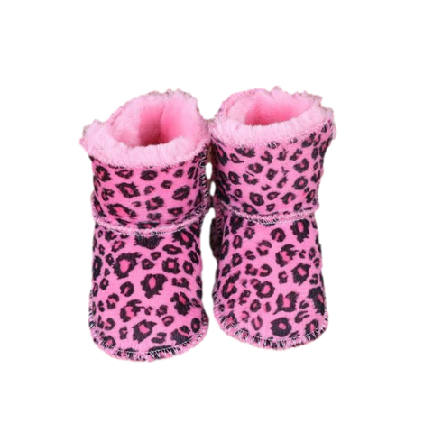 Baby First Walker Boots Pink Leopard Print freeshipping - Tots Little Closet