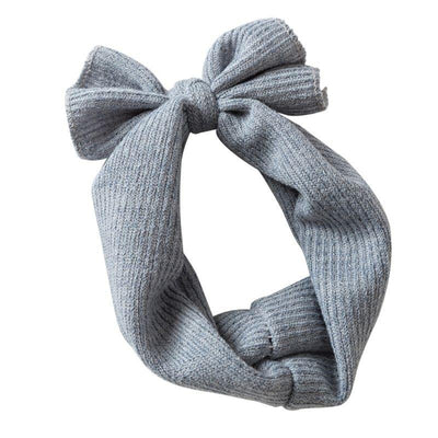Baby Ribbed Bow Headbands Grey