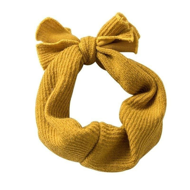 Baby Ribbed Bow Headbands Mustard