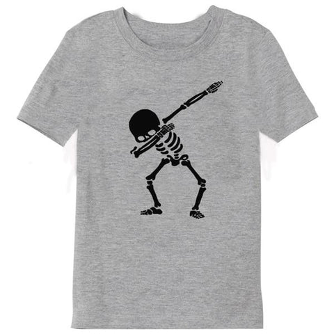 Boys Summer Street Wear T-Shirts Dabbin' Skeleton Grey - Tots Little Closet
