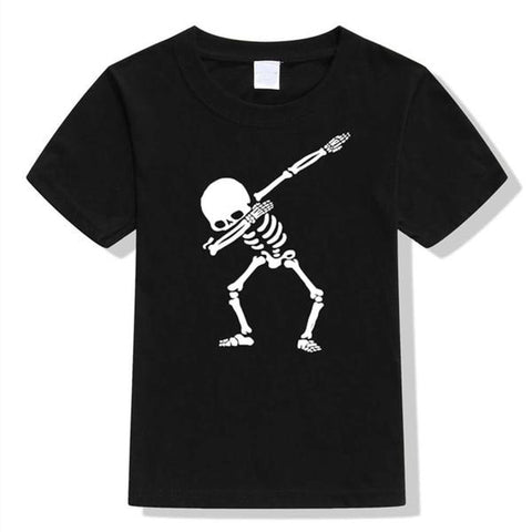 Boys Summer Street Wear T-Shirts Dabbin' Skelton Black - Tots Little Closet