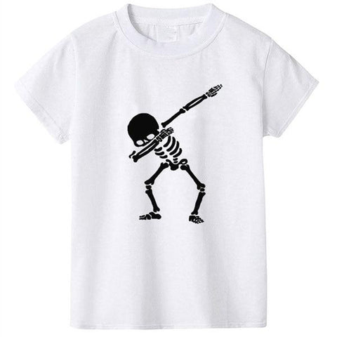 Boys Summer Street Wear T-Shirts Dabbin' Skeleton White - Tots Little Closet