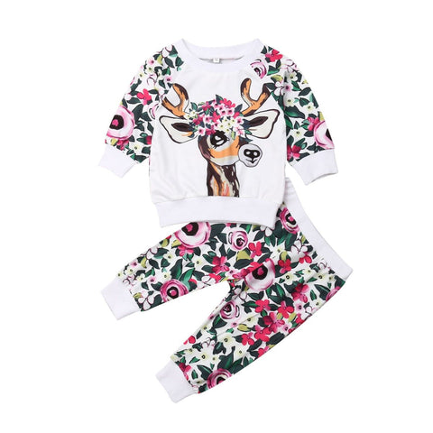 Floral Deer Empress Tracksuit freeshipping - Tots Little Closet