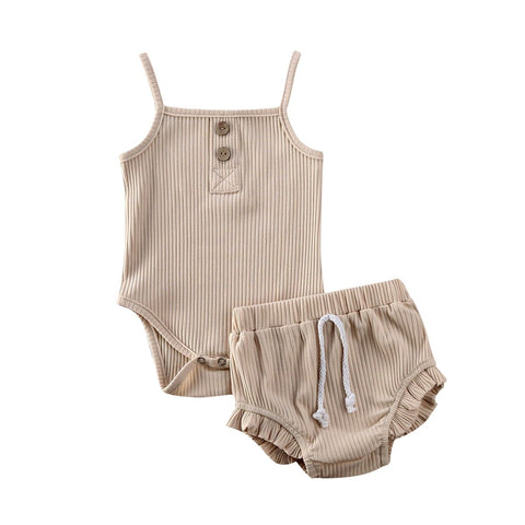 Tots Little Closet Ribbed Summer Set 8 Colours - Tots Little Closet