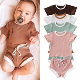 Ribbed Gender Neutral Casual Summer Set freeshipping - Tots Little Closet