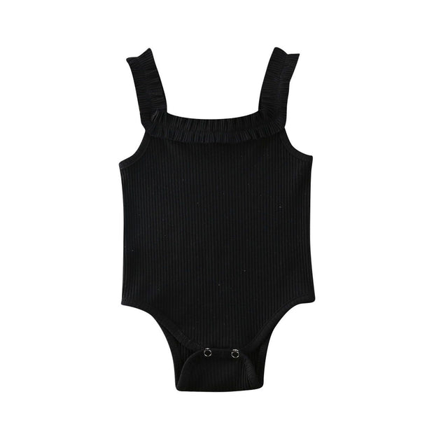 Basic Ribbed Bodysuit Black