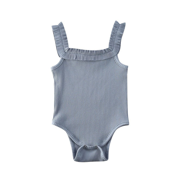 Basic Ribbed Bodysuit Blue