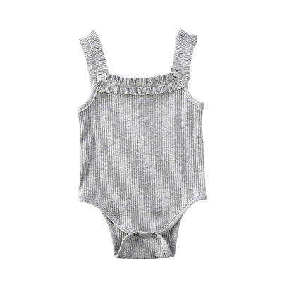 Basic Ribbed Bodysuit Gray