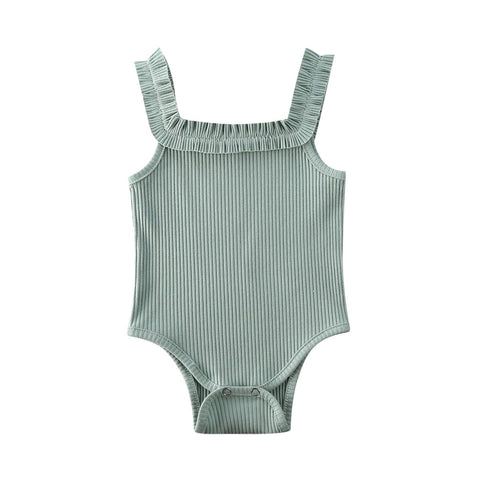 Basic Ribbed Bodysuit Green - Tots Little Closet