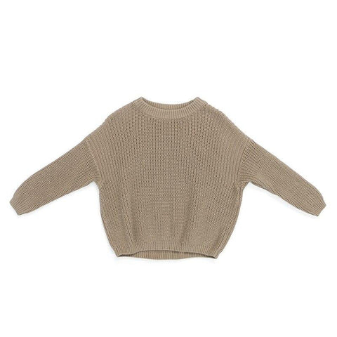 Boys Knitted Pullover Sweater Beige - Tots Little Closet