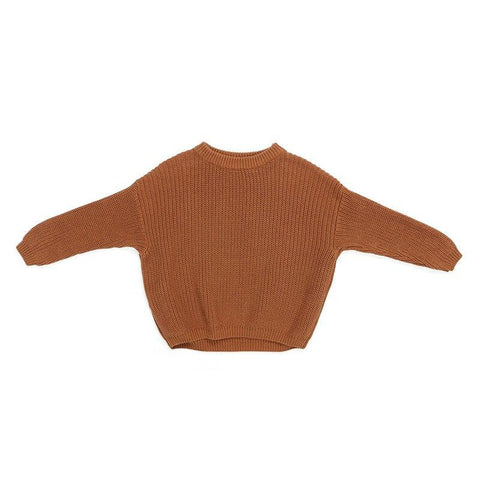 Boys Knitted Pullover Sweater Burnt Orange - Tots Little Closet