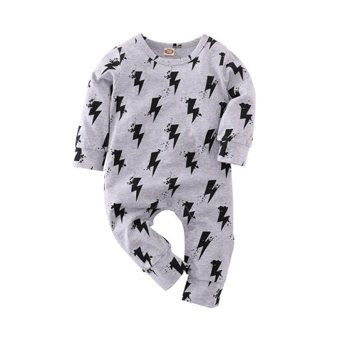 Baby Boy Patterned Long Sleeve Winter Romper Onesie Grey w Black Lightening freeshipping - Tots Little Closet