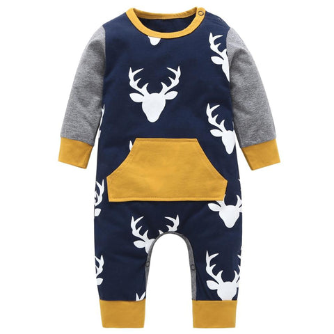 Baby Boy Patterned Long Sleeve Winter Romper Onesie Deer freeshipping - Tots Little Closet