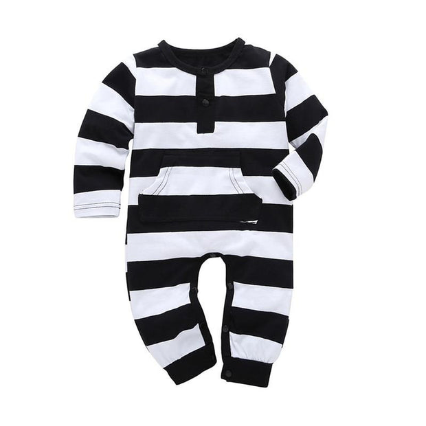Baby Boy Patterned Long Sleeve Winter Romper Onesie Thick Black White Stripes - Tots Little Closet