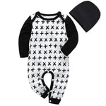 Baby Boy Patterned Long Sleeve Winter Romper Onesie Black Cross - Tots Little Closet
