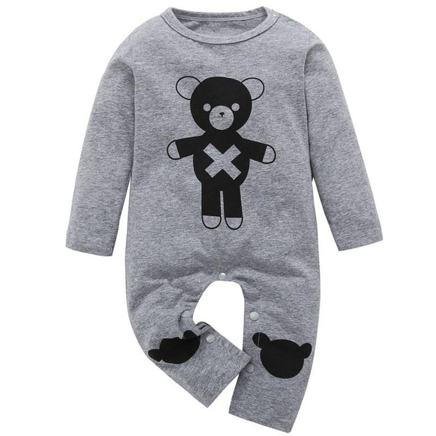 Baby Boy Patterned Long Sleeve Winter Romper Onesie Grey W Black Teddy - Tots Little Closet